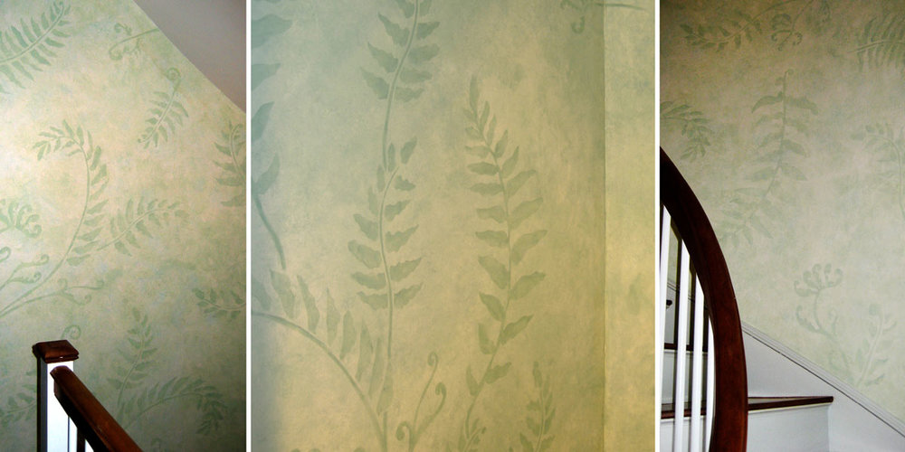 Decorative Ferns on Stairwell