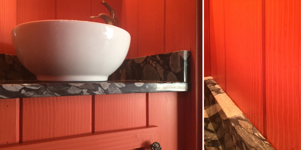 Red Combed Wall and Cabinet Treatment
