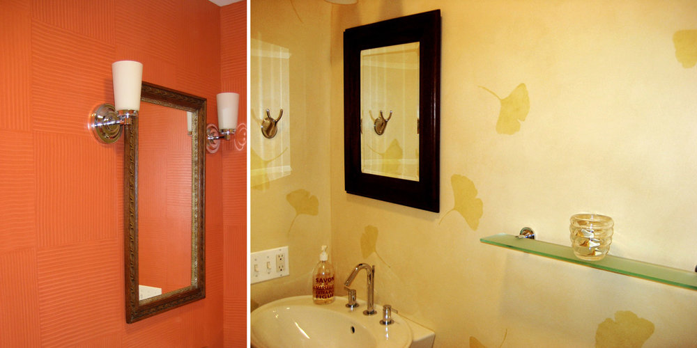 Red Combed and Gingko Stenciled Bathroom Walls