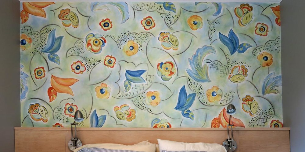 Hand Painted Custom Wall Floral Treatment Finished Wall