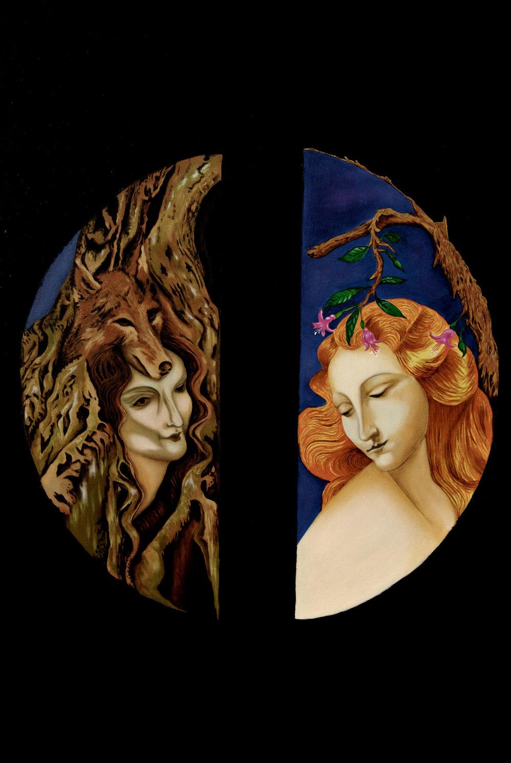 erWilson The dual nature. Kahiketa swamp forest & wild woman. Maiden & the Tree fuchsia_Oil on Canvas_120cmx80cm.jpg
