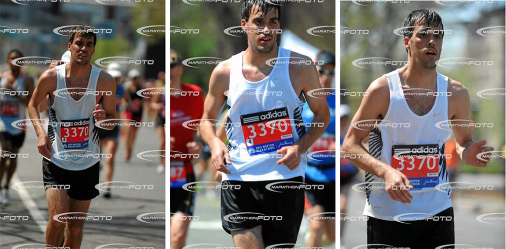 Brandon running the 90-degree Boston Marathon in 2012 setting a PW but creating memories to last a lifetime! Many thanks to Marathonfoto for never deleting these.
