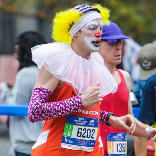 Michael during the 2017 NYC Marathon. Your eyes do not deceive you. Photo by  Bob Smyth .