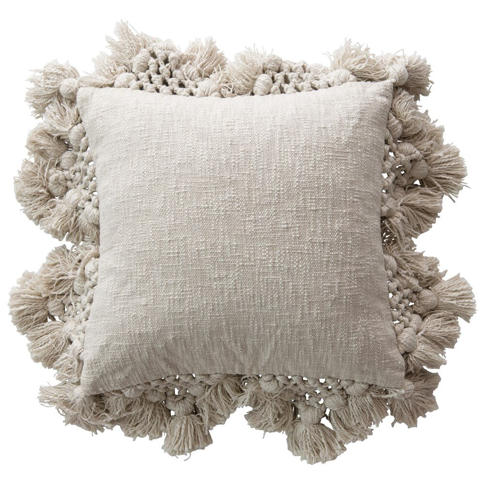 18 Square Cotton Crochet Pillow With Tassels Modern Vintage