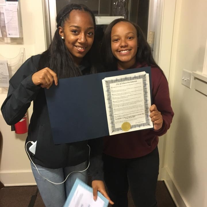 Mayor Svante Myrick proclaimed November 6, 2017 as Northside United Youth Empowerment Day in the City of Ithaca! (Teen Designers of 'The Hangout')