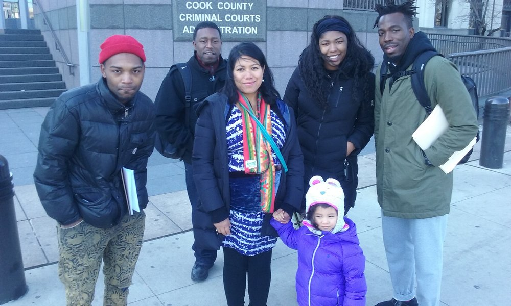 Working Family Solidarity and our ally the Workers' Center for Racial Justice, outside the enormous Cook Country (Chicago) jail facility. We reach out to African Americans and Latinos affected by our criminal justice system, to build solidarity between our communities as we look for work and try to stabilize our lives by having a place to live.