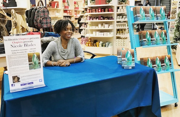 Nicole Blades signing books at La librarie Chapters. Some beauty goods and a book. Why not?