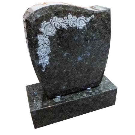 The Vostok Collection are granite monuments from Eastern Europe - a collection of unique Eastern European designs, as well as granite colors never before imported to the United States. Color: Irina Blue Die: 2-0 x 0-8 x 2-4 All Polish, Contour Top, Convex Sides, Chamfers  Base: 2-6 x 1-2 x 0-8   All Polish