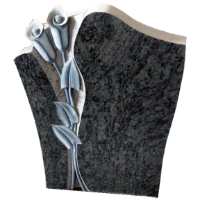 Individual Die Calla Lilies and sweeping curves accent this beautiful headstone.