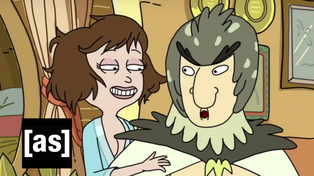 Pictured: An inhuman abomination, and Birdperson.