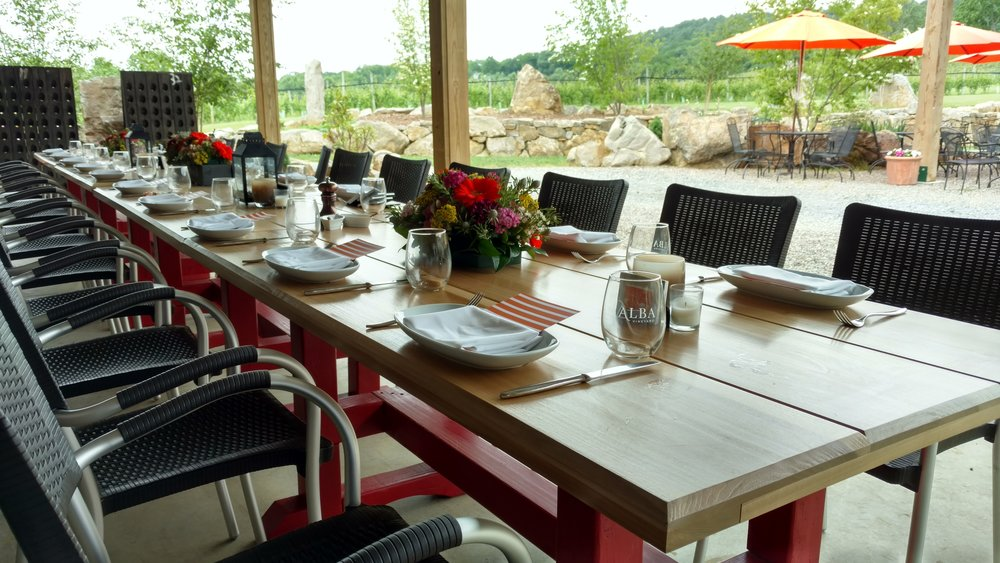 The Farm Tables at ALBA - A perfect setting for small parties, private events, or just a weekend getaway with family and friends!