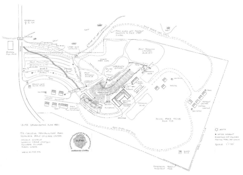 Site Map of SLFND campus:  Ta-Valema Permaculture Farm & Learning Lab  and  Dovalema Early Childhood Co-op