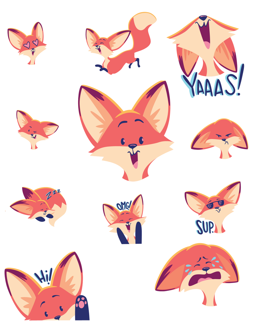 The Happy Fox - a sticker pack now available on the App Store!
