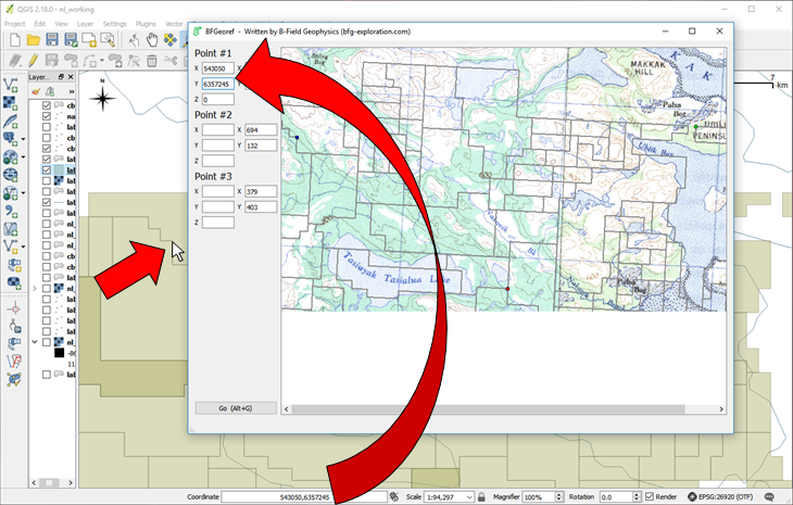 Locate each dot in geographic coordinates, and enter these coordinates into the appropriate box.