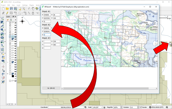 You can tab between the fields in BFGeoref, which frees up the mouse for positioning the cursor in your GIS package.