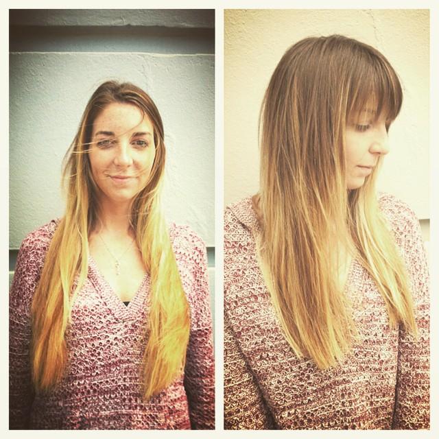 # beforeandafter#ombre#seattlehair #blondehair#hairgoddessmichelle
