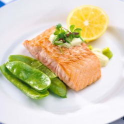 Grilled Salmon with Wasabi & Lemon Cream Sauce