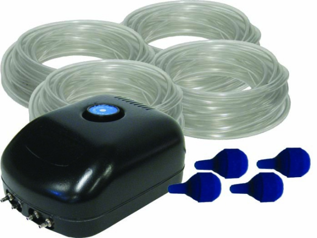 We sell aerators for your 800 - 20,000 gallon ponds. These add oxygen to your pond to help your golfish, koi and pond pets. Keeping oxygen levels high helps with algae control.