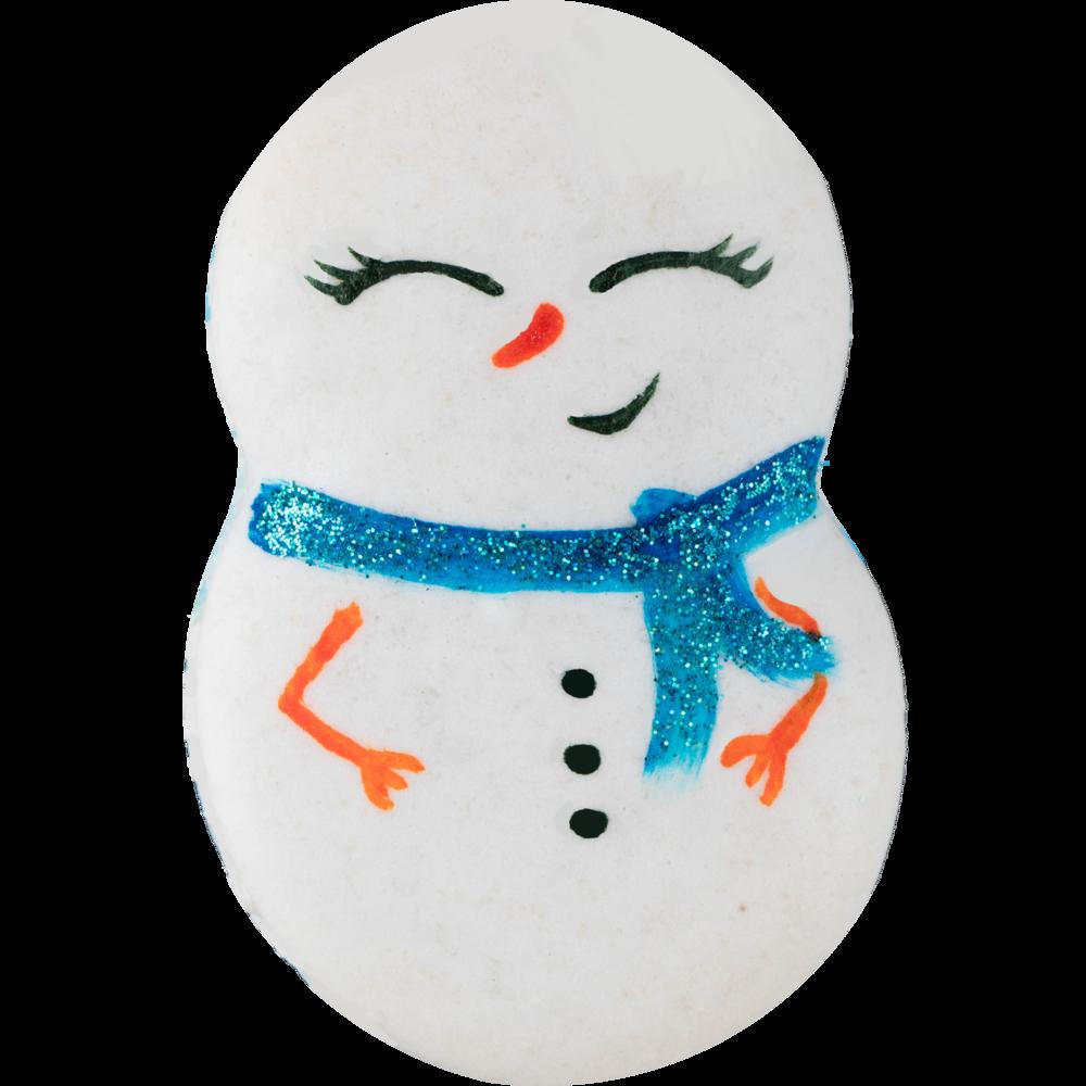 SNOWMAN MACARON - $4.75HAND PAINTED ALMOND VANILLA SHELLS+ BLUE VANILLA BUTTERCREAM