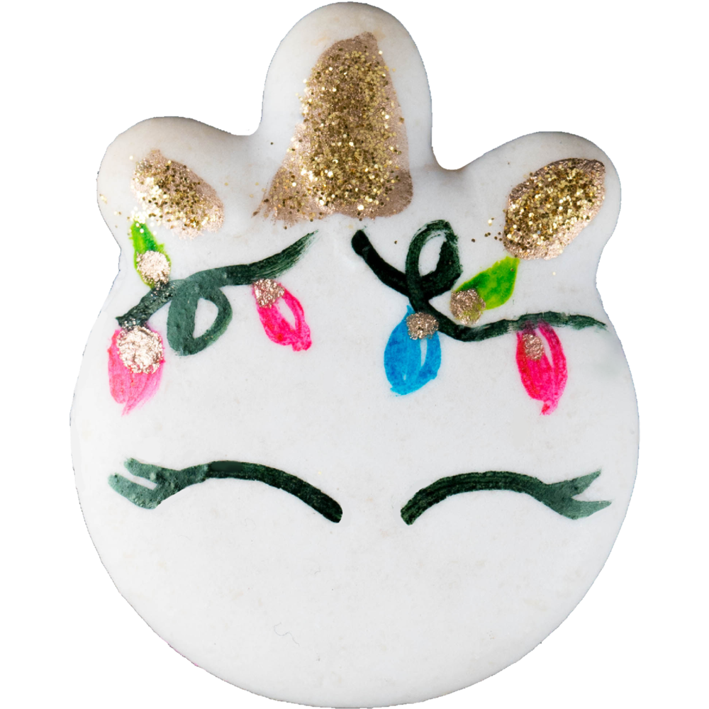 HOLIDAY UNICORN MACARON - $4.50HAND PAINTED ALMOND VANILLA SHELLS+ PINK VANILLA BUTTERCREAM