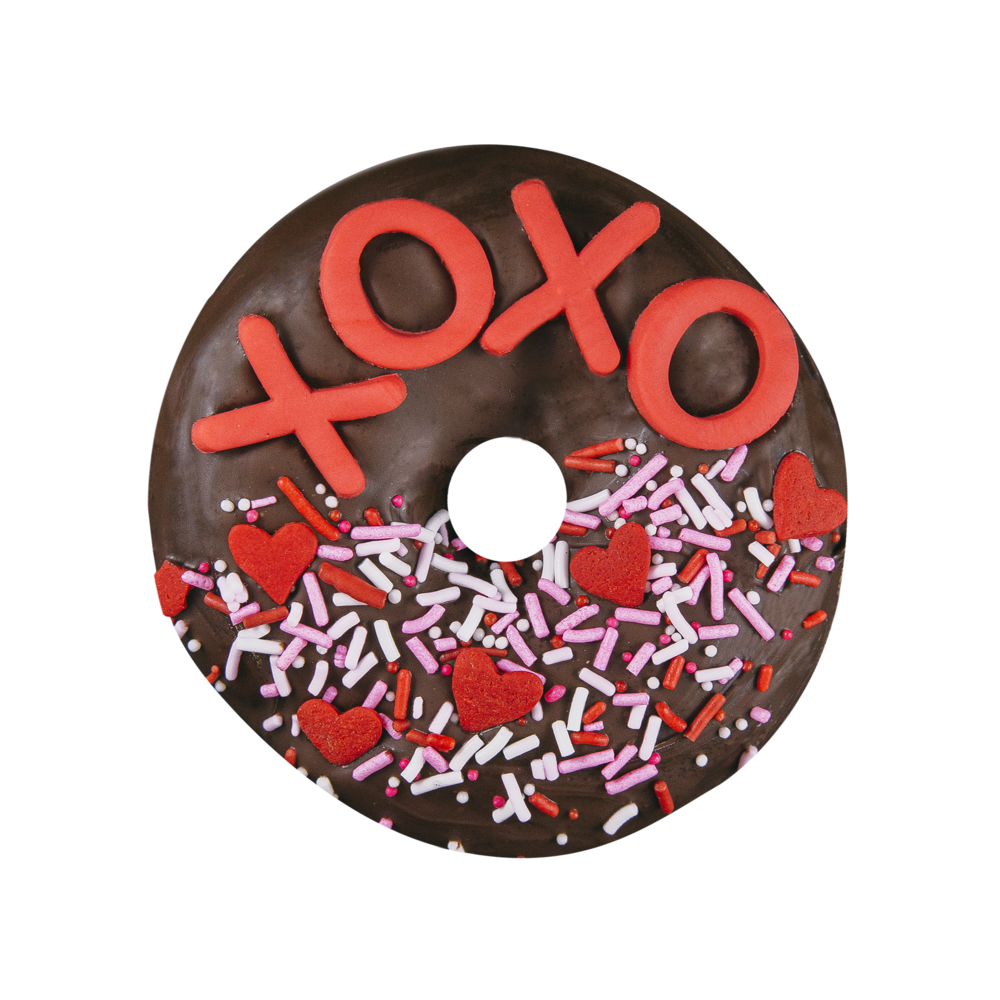 XOXO - CHOCOLATE GLAZE + SPRINKLES + FONDANT LETTERS