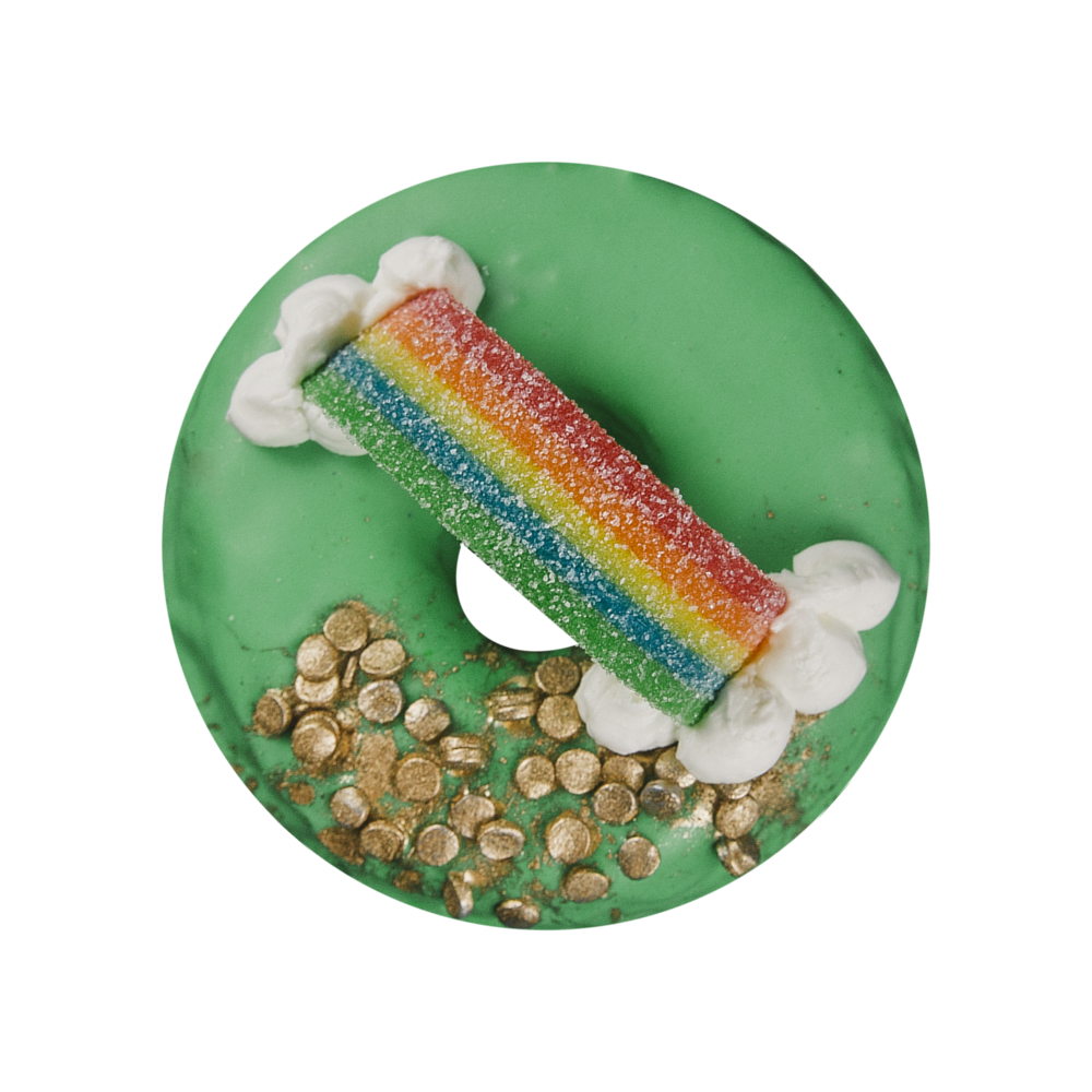 POT OF GOLD - VANILLA GLAZE+ GOLD SPRINKLES+ RAINBOW AIRHEAD STRIP