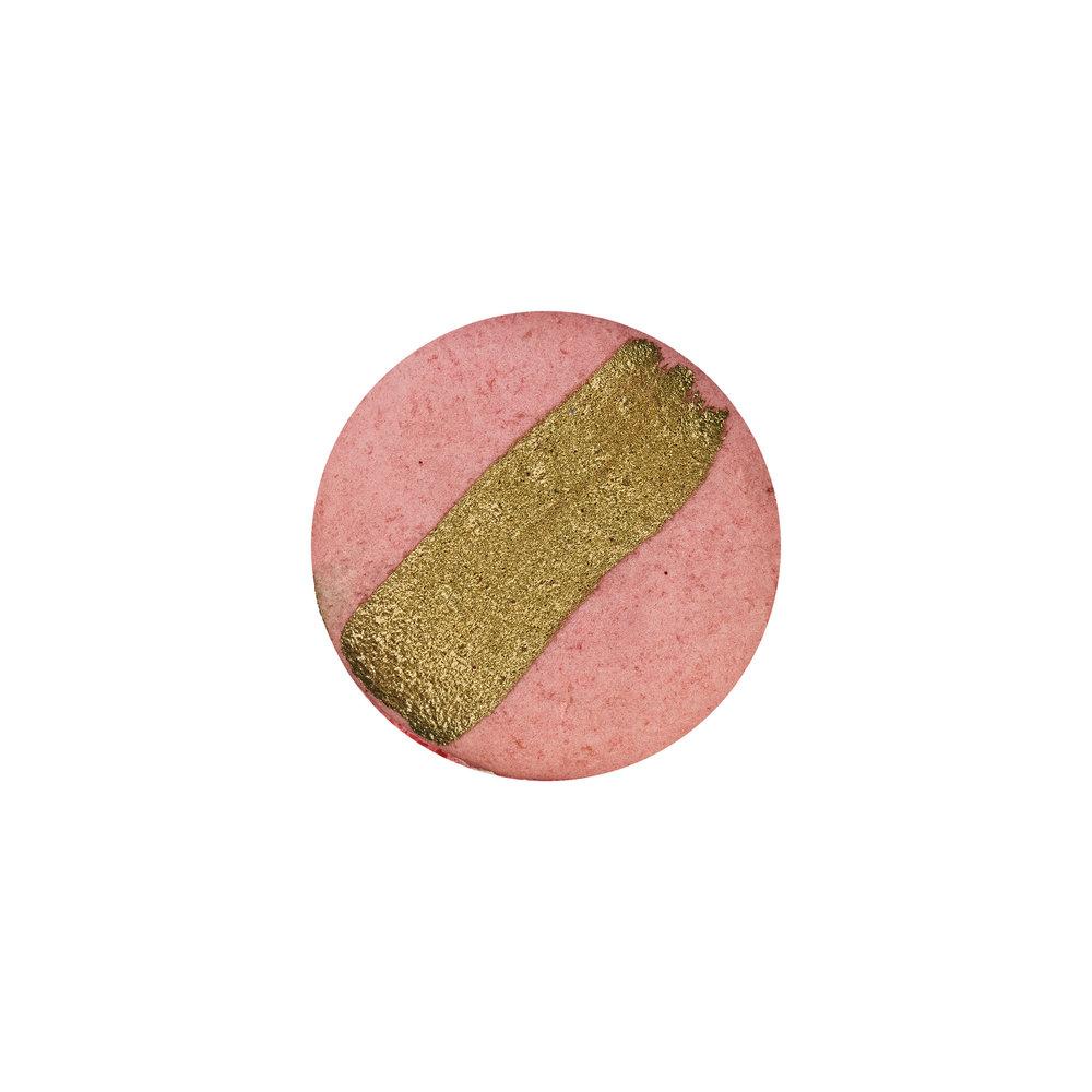STRAWBERRY MACARON - GOLD PAINTED VANILLA ALMOND SHELLS+ VANILLA BUTTERCREAM + STRAWBERRY FILLING