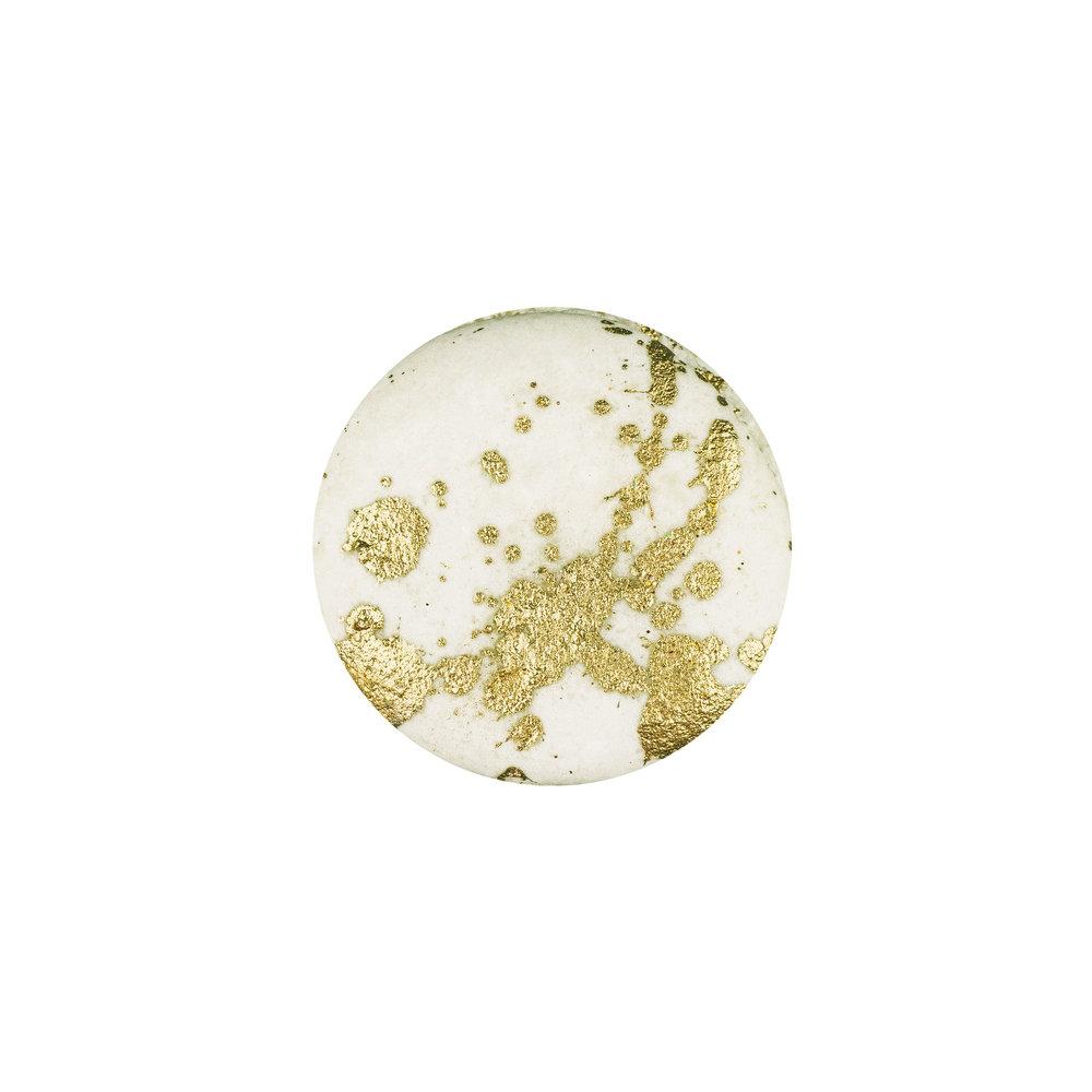 GOLD SPLATTER MACARON - GOLD PAINTED VANILLA ALMOND SHELLS+ VANILLA BUTTERCREAM FILLING