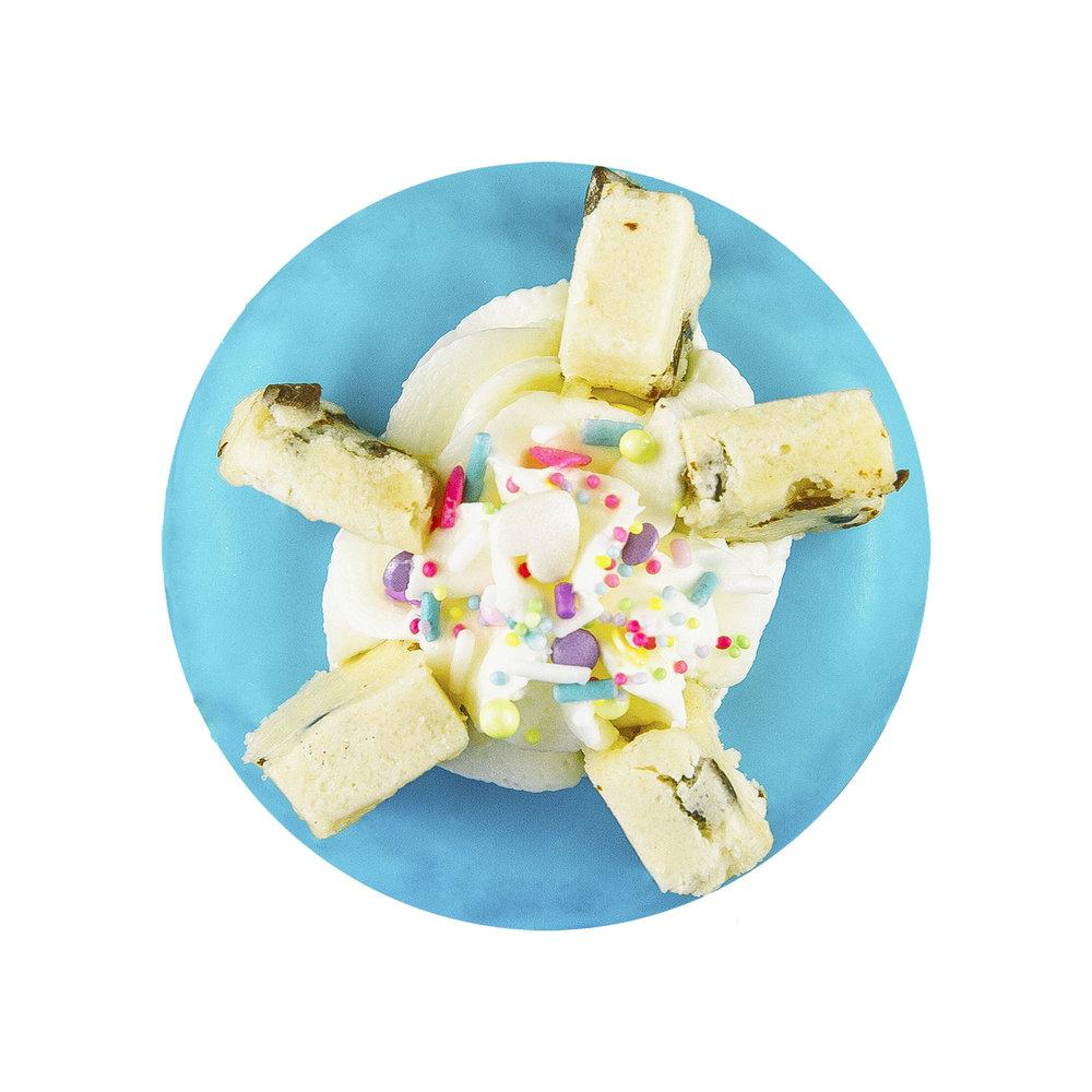 CHOCOLATE CHIP COOKIE DOUGH - VANILLA GLAZE+ CHOCOLATE CHIP COOKIE DOUGH+ BUTTERCREAM SWIRL+ SPRINKLES