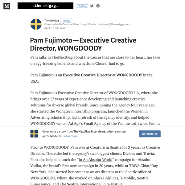 The Next Gag:  Pam Fujimoto — Executive Creative Director, WONGDOODY