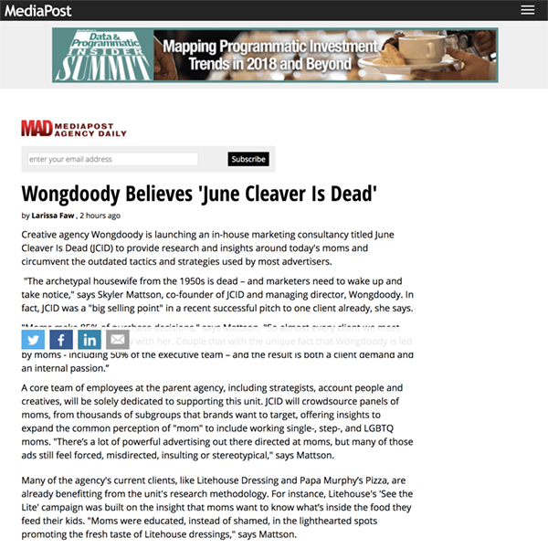 MediaPost:  Wongdoody Believes 'June Cleaver Is Dead'