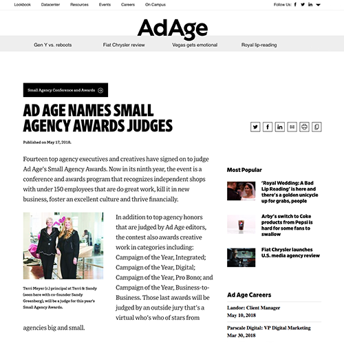 Ad Age:  Ad Age Names Small Agency Awards Judges