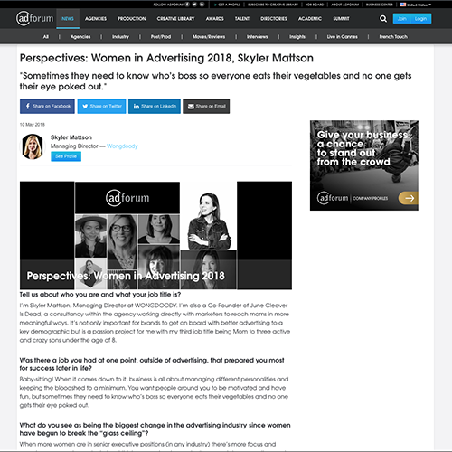 adforum:  Women in Advertising 2018, Skyler Mattson