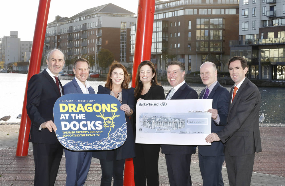 Pictured: Kevin Nowlan (Hibernia REIT), Simon Betty (Hammerson), Kelly Crowley (Dublin Simon Community), Alison Rohan (Kennedy Wilson), Pat Gunne (Green REIT), Darren O'Neill (IRES) and Declan Murray (Cairn).