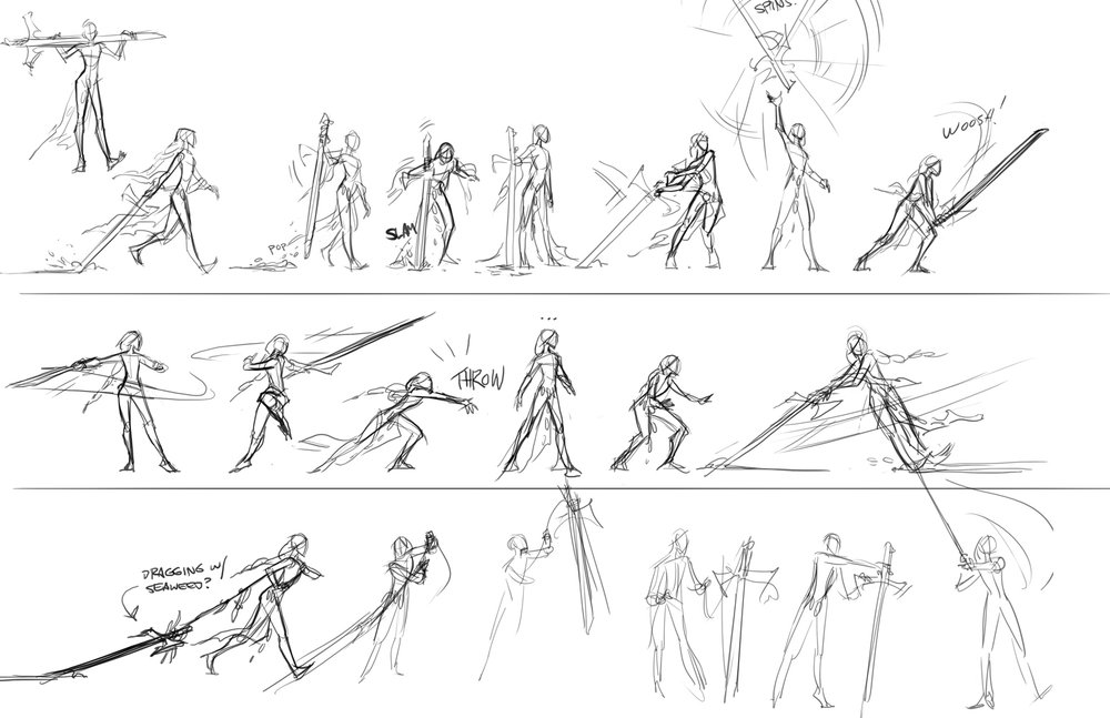 animation boards for Evienne's combat style