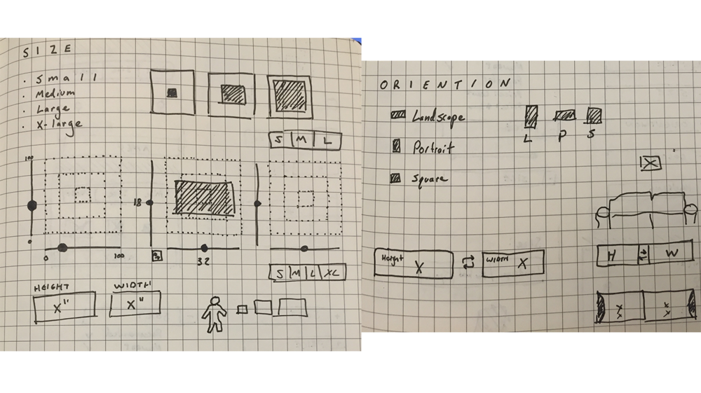 Exploring different UI options to select general sizes or specific dimensions.