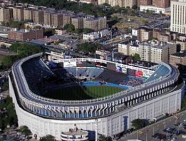 Aerial shot of Yankee Stadium in 2002.