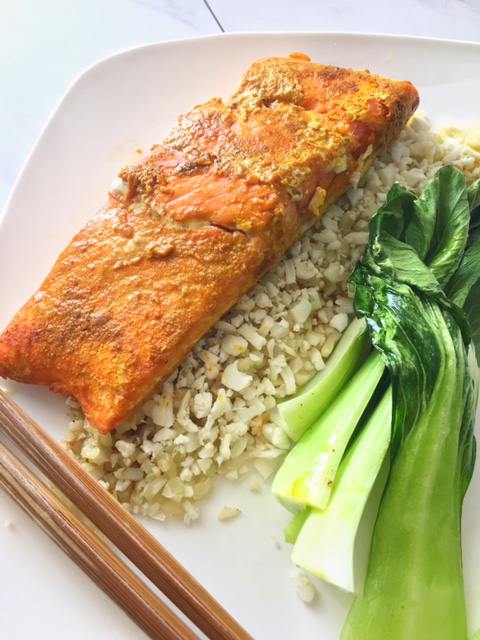 Curried Salmon and Roasted Bok Choy Over Cauliflower Rice