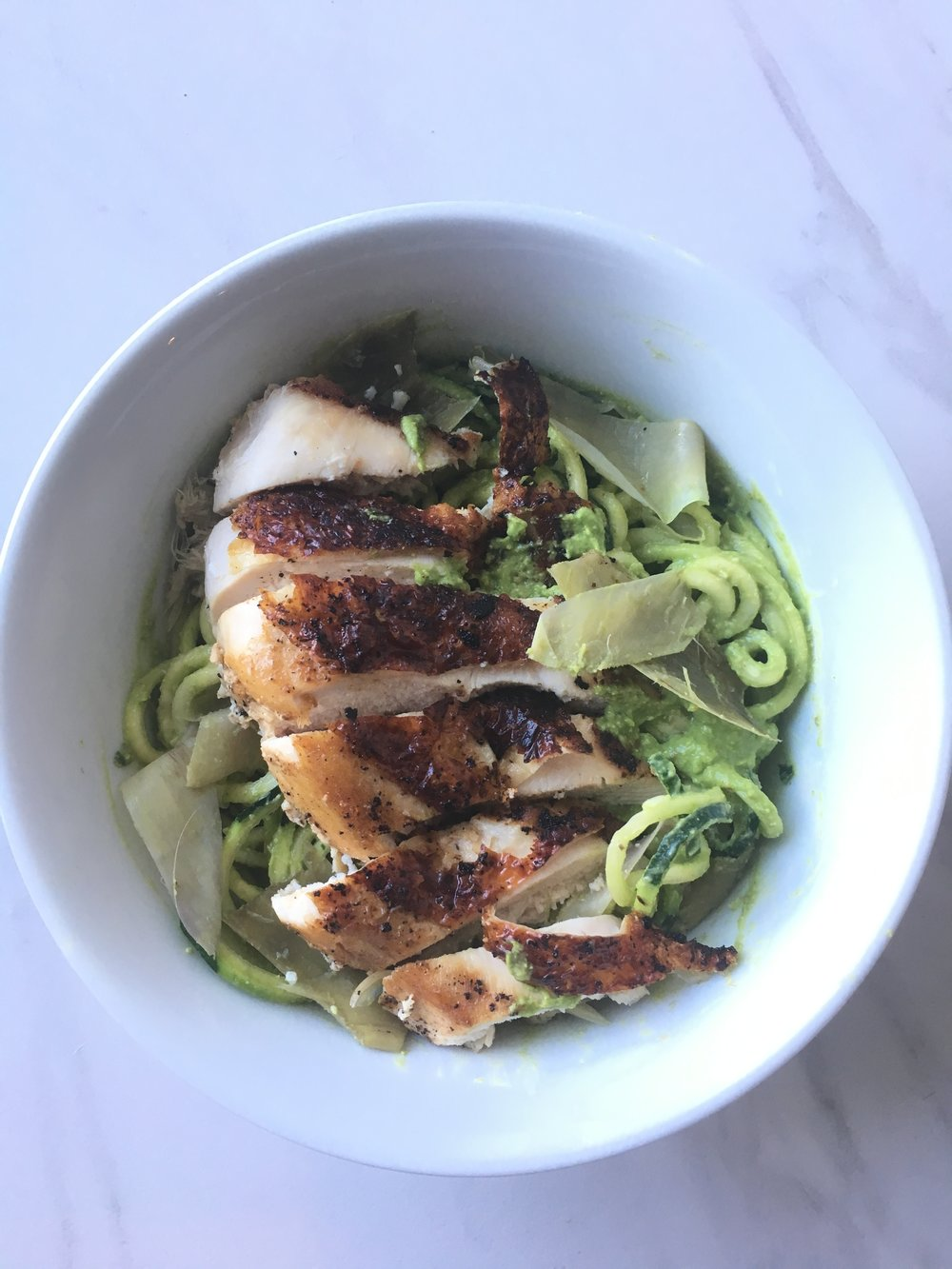 AIP Chicken and Artichoke Pesto Pasta