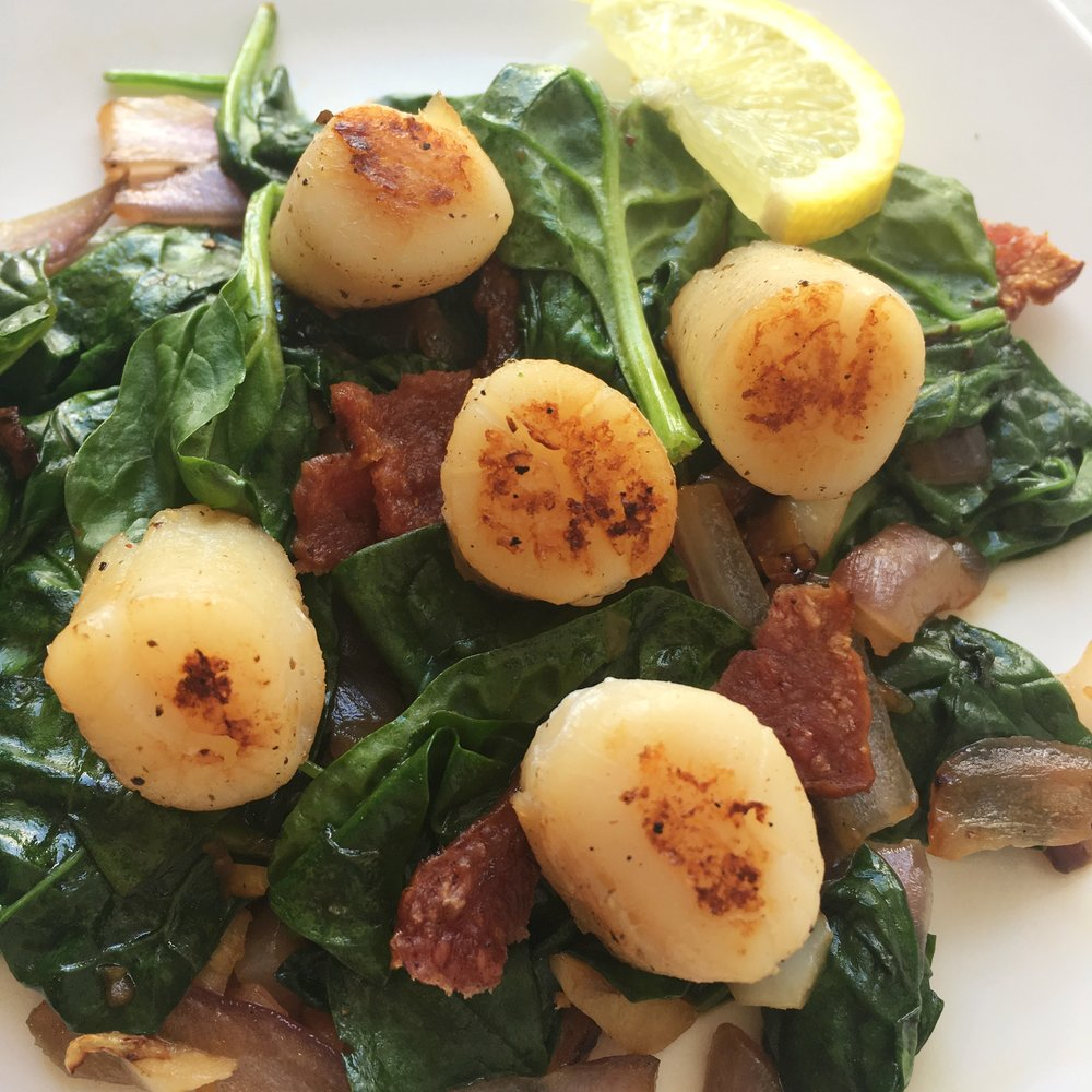 AIP Seared Scallops Over Bacon & Spinach