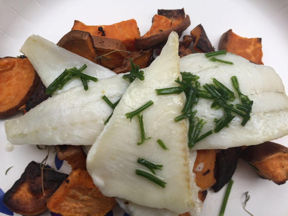 Wild Caught Fish and Roasted Sweets with Chive Vinaigrette