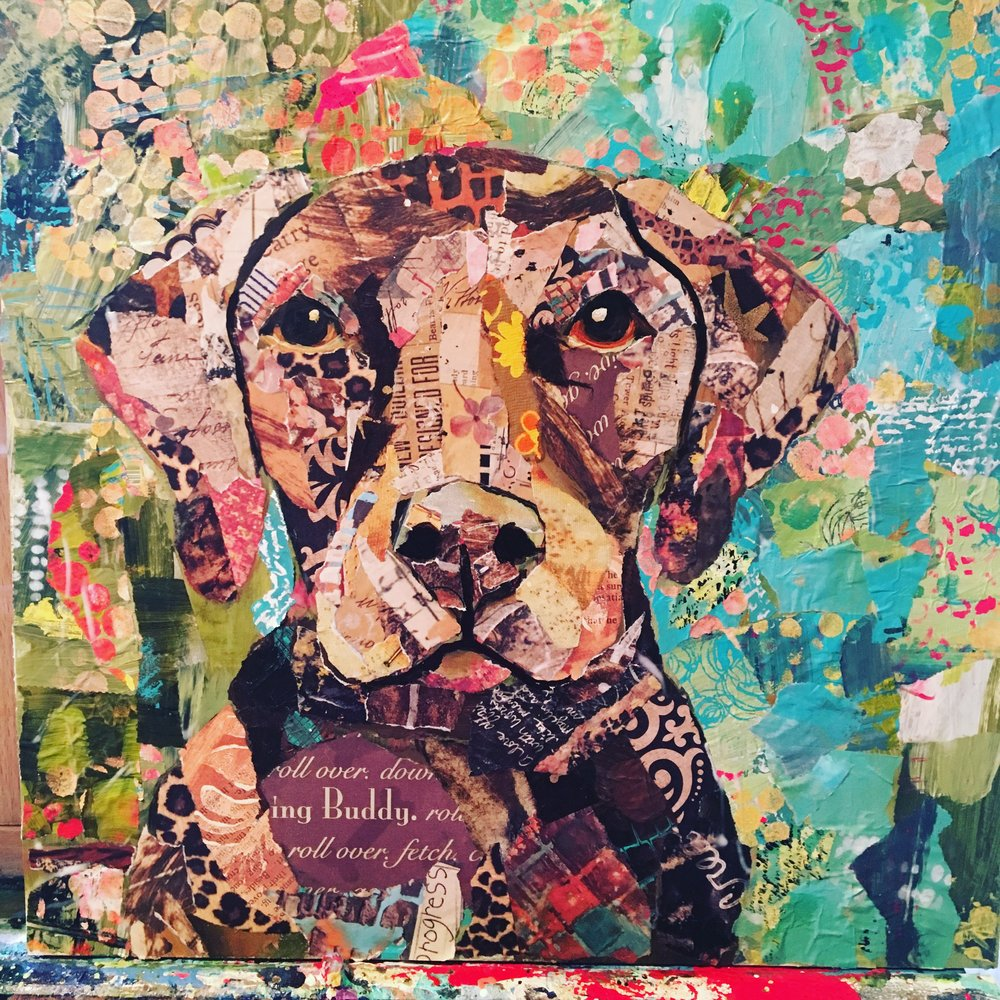 """""""Sadie"""" 12x12 Created using hand painted papers, cute quotes about dogs and nicknames."""