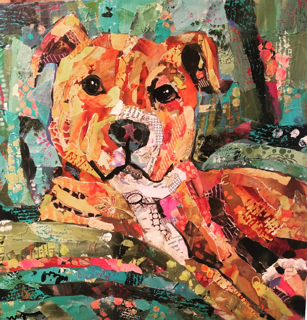 """""""Sadie"""" 12x12 Hand painted papers and book pages"""