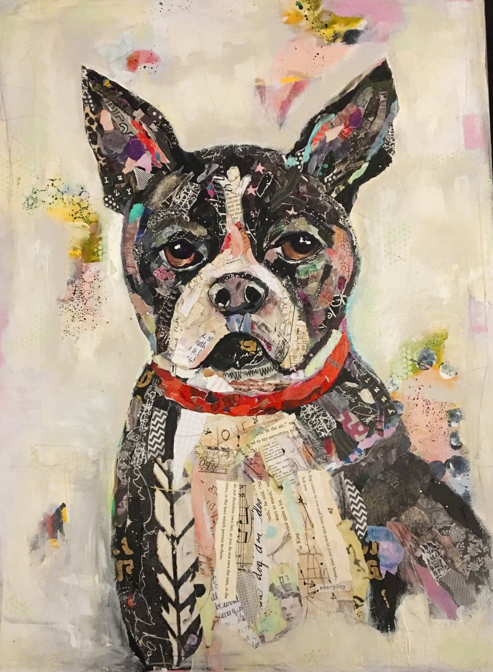 Boston Terrier 16x20 Hand painted papers, vintage papers and many prayers for this sweet girl.