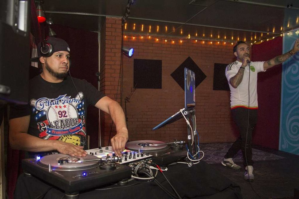 DJ Escante (left) and Teatro Audaz Chairman of the board, Maximo Anguiano (right) were part of the entertainment at The Pachanga held by Teatro Audaz to announce their 2017-18 Season lineup.
