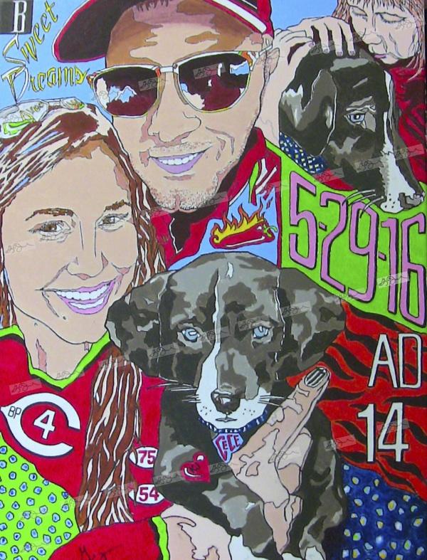"2016 ""Kara Jesse Cece"" Dayton, Ohio 18x24 Acrylic on Canvas"