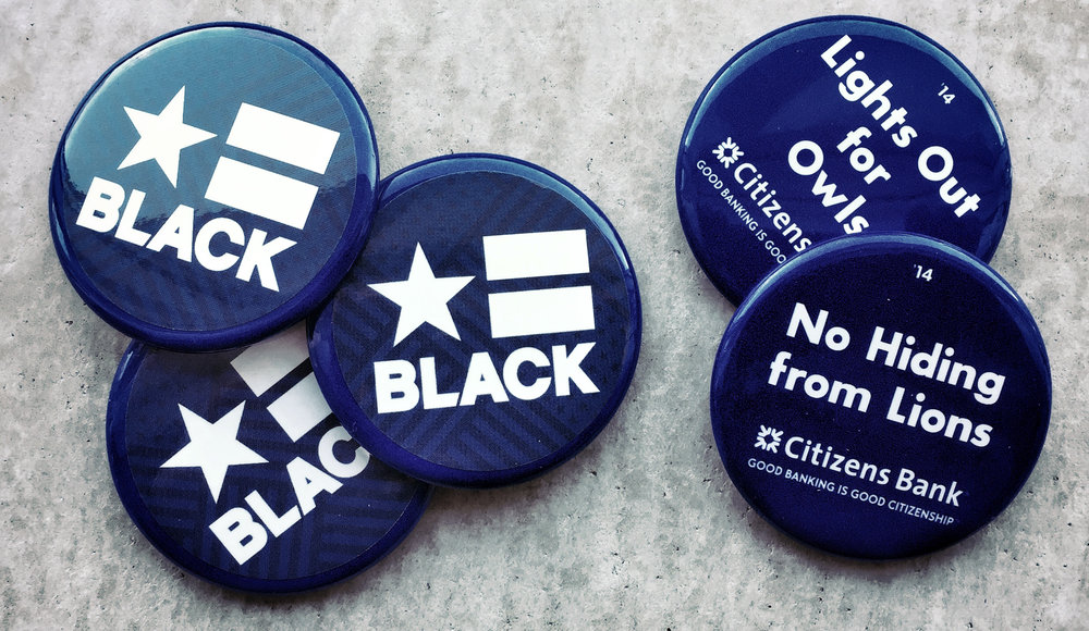 CREATIVE SOLUTION: recycle 5,000 abandoned Penn State football spirit buttons with BLACK for MAYOR stickers.