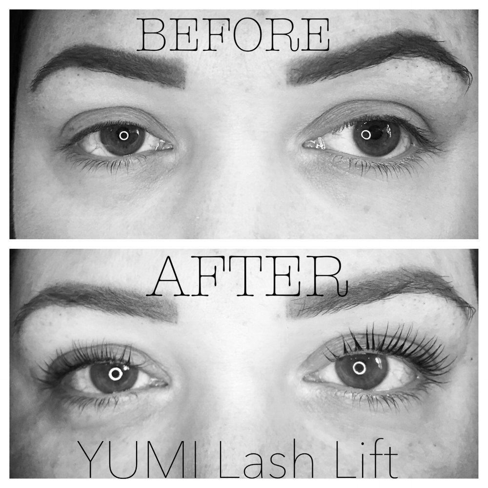 Before and After the YUMI™ Lash Lift and Tint