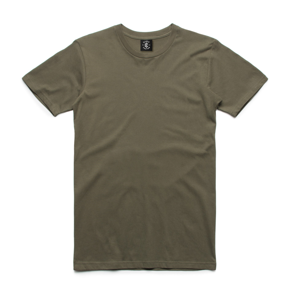 Fabric: – 100% combed cotton preshrunk jersey knit (marles 15% polyester) Weight: – 180 g/m2 Sizes: – S, M, L, XL, 2XL, 3XL Colours: Army, Arctic Blue, Aqua, Black, Charcoal, Dark Choc, Grey Marle, Kelly Green, Lt Blue Navy, Orange, Pink, Purple, Red, Royal, Yellow, Tan, White. - Taped neck and shoulders - Double needle sleeve and bottom hems - Illicit Custom Label - Regular Fit