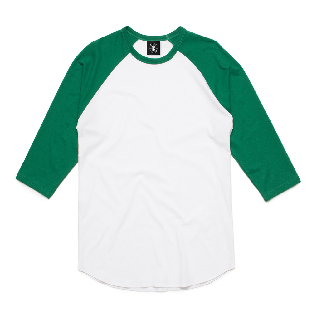 Fabric: – 100% Combed Cotton Jersey Weight: – 180 g/m2 Sizes: – S, M, L, XL, 2XL Colours: White/Black, White/Green, White/Navy, Black/White. - 100% combed cotton preshrunk jersey knit (marles 15% polyester) - Taped neck and shoulders - Double needle sleeve and bottom hems - 3/4 length raglan sleeves - Curved Hem - Illicit Custom Label - Regular Fit